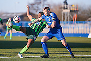AFC Wimbledon forward Dominic Poleon (10) hooks the ball over Curzon Ashton defender Simon Woodford (2)  during the The FA Cup match between Curzon Ashton and AFC Wimbledon at Tameside Stadium, Ashton Under Lyne, United Kingdom on 4 December 2016. Photo by Simon Davies.