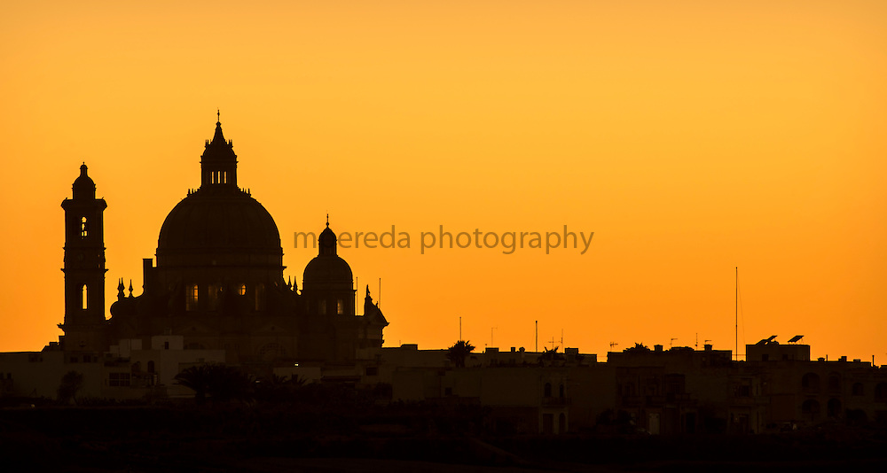 Xewkija, a village on Gozo island at sunset.