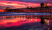 Red Sky Reflections Sunset At Oceanside Pier