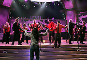 Kelly Rowland and the Houston Clash Choir perform during the NBC 'Clash Of The Choirs' full show rehearsal at Steiner Studios in Brooklyn, New York City, USA on December 16, 2007.