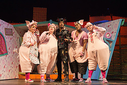 "© Licensed to London News Pictures. 05/08/2015. London, UK. L-R: Alison Jiear, Leanne Jones, Simon Webbe, Taofique Folarin and Daniel Buckley. West End premiere of the children's story ""The 3 Little Pigs"" at the Palace Theatre starring Simon Webbe as Wolf, Alison Jiear as Mother, Leanne Jones as Bee, Taofique Folarin as Bar and Daniel Buckley as Q. The show runs from 5 August to 6 September 2015. Photo credit: Bettina Strenske/LNP"