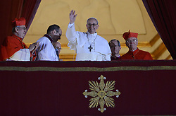 Argentina's Cardinal Jorge Mario Bergoglio is elected as the Catholic Church's new Pope Francis, the first Latin American in the role on March 13, 2013 at the Vatican. Cardinal Bergoglio was elected in a swift five votes of a conclave of 115 cardinals, and immediately appeared to say the Lord's Prayer to crowds on the Vatican plaza. Photo by Eric Vandeville/ABACAPRESS.COM  | 356487_037 Vatican City Vatican Vatican (or Holy See)
