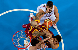 Pero Antic of Macedonia and Predrag Samardziski of Macedonia vs Pau Gasol of Spain and Marc Gasol of Spain during basketball game between National basketball teams of Spain and F.Y.R. of Macedonia in Semifinals  of FIBA Europe Eurobasket Lithuania 2011, on September 16, 2011, in Arena Zalgirio, Kaunas, Lithuania. Spain defeated Macedonia 92-80.  (Photo by Vid Ponikvar / Sportida)