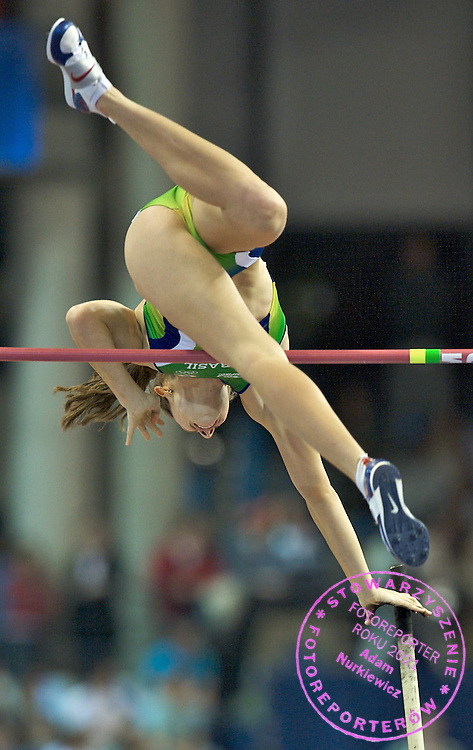 FABIANA MURER (BRAZIL) COMPETES IN POLE VAULT WOMEN DURING THE 12TH IAAF WORLD INDOOR CHAMPIONSHIPS IN ATHLETICS VALENCIA 2008 AT PALAU VELODROMO LUIS PUIG..VALENCIA , SPAIN , MARCH 08, 2008.( PHOTO BY ADAM NURKIEWICZ / MEDIASPORT )..PICTURE ALSO AVAIBLE IN RAW OR TIFF FORMAT ON SPECIAL REQUEST.