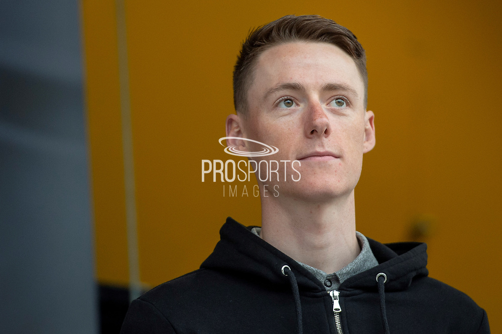 Connor Swift of Madison Genesis current British National Road Race Champion on stage during the Eve of Tour celebrations in Millennium square,Leeds, United Kingdom on 1 May 2019.