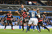 Birmingham City defender Michael Morrison heads away a corner during the Sky Bet Championship match between Birmingham City and Queens Park Rangers at St Andrews, Birmingham, England on 17 October 2015. Photo by Alan Franklin.