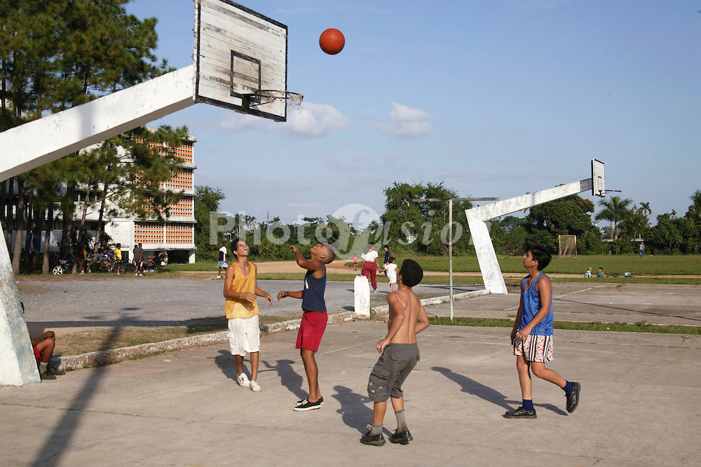 Boys playing basketball at Pinar del Rio; Cuba,
