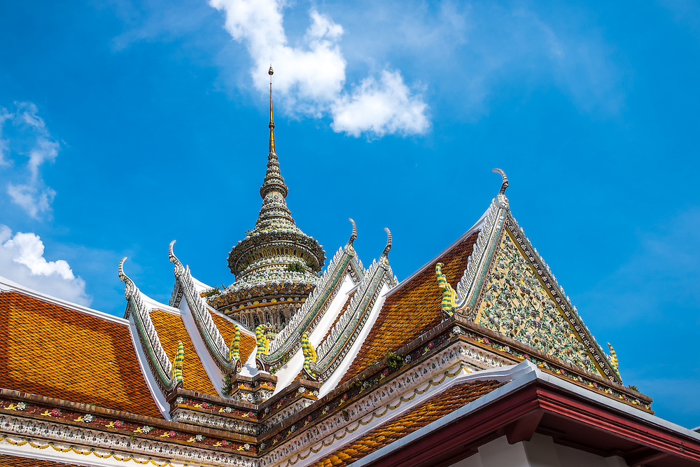 BANGKOK, THAILAND - CIRCA SEPTEMBER 2014: Detail view of the roofs in Wat Arun, a popular Buddhist temple in Bangkok Yai district of Bangkok, Thailand, on the Thonburi west bank of the Chao Phraya River