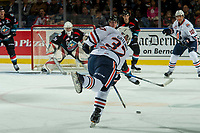 KELOWNA, CANADA - SEPTEMBER 22: Joe Gatenby #37 of the Kamloops Blazers takes a shot on net against the Kelowna Rockets during first period on September 22, 2017 at Prospera Place in Kelowna, British Columbia, Canada.  (Photo by Marissa Baecker/Shoot the Breeze)  *** Local Caption ***