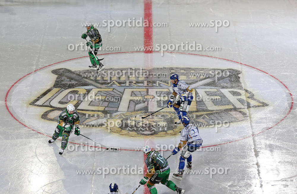 14.09.2012, Amphitheater, Pula, CRO, EBEL, Ice Fever, KHL Medvescak Zagreb vs HDD Olimpija Ljubljana, 03. Runde, im Bild Anthony Yelovich, Ziga Pance // during the Erste Bank Icehockey League 03rd Round match betweeen KHL Medvescak Zagreb and HDD Olimpija Ljubljana at the Amphitheater, Pula, Croatia on 2012/09/14. EXPA Pictures © 2012, PhotoCredit: EXPA/ Pixsell/ Igor Kralj ***** ATTENTION - OUT OF CRO, SRB, MAZ, BIH and POL *****