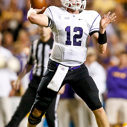 Oct 26, 2013; Baton Rouge, LA, USA; Furman Paladins quarterback Reese Hannon (12) against the LSU Tigers during the first half of a game at Tiger Stadium. Mandatory Credit: Derick E. Hingle-USA TODAY Sports