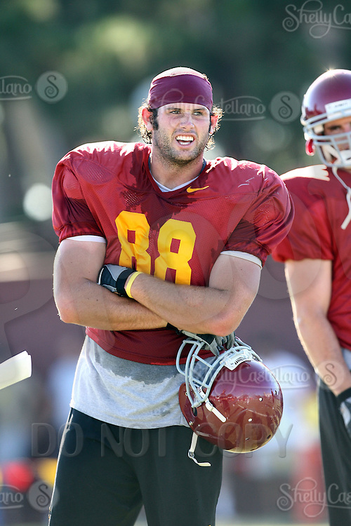 20 August 2007: #88 Jimmy Miller.  NCAA Pac-10 College Football University Southern California Trojans in action during fall practice before the regular season start on the USC campus at the Howard Jones Field in Los Angeles, CA.  For the third time in four years The Trojans begin the college football season raked #1 in the Associated Press Top 25 poll and other media outlets across the nation.