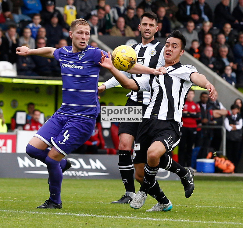 St.Mirren v Dunfermline Athletic, PETROFAC TRAINING CUP 1/4 Final 10th October 2015..Marc McAusland and Cameron Howieson tussle for the ball....(c) STEPHEN LAWSON | SportPix.org.uk
