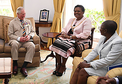 The Prince of Wales meeting with the Governor-General of Barbados, Her Excellency Dame Sandra Mason at Government House, Bridgetown, Barbados.