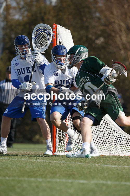 DURHAM, NC - FEBRUARY 08: Casey Carroll #37 of the Duke Blue Devils plays against the Jacksonville Dolphins on February 08, 2014 at Koskinen Stadium in Durham, North Carolina. Duke won 16-10.