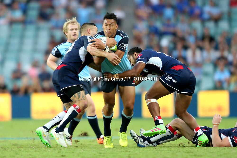 Israel Folau. Waratahs v Rebels, Super Rugby Round 6. Played at Allianz Stadium, Sydney Australia on Sunday 3 April 2016. Copyright Photo: Clay Cross / photosport.nz