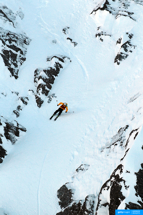 Frasor McDougal, New Zealand, in action during the World Heli Challenge Extreme Day at Mount Albert on Minaret Station, Wanaka, New Zealand. 1st August 2011