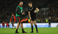 Rugby Union - 2017 Autumn Internationals - New Zealand vs. Barbarians<br /> <br /> Beauden Barrett of The All Blacks with Keiran Reed at Twickenham.<br /> <br /> COLORSPORT/LYNNE CAMERON