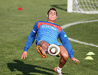 Cristiano Ronaldo. Portugal practice, held at the Bekker High School in Magaliesburg, one hour drive from Johannesburg. England plays in white, USA in blue.<br /> June 12, 2010. Magaliesburg, South Africa.<br /> Photo credit : Jean Catuffe / DPPI
