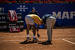 April 29, 2018 - Barcelona, Catalonia, Spain - RAFAEL NADAL (ESP) discusses with the regeree during his game against Stefanos Tsitsipas (GRE) in the final of the 'Barcelona Open Banc Sabadell' 2018. Nadal won (Credit Image: © Matthias Oesterle via ZUMA Wire)
