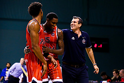 Bristol Flyers head coach, Andreas Kapoulas pats Fred Thomas of Bristol Flyers on the back - Mandatory by-line: Robbie Stephenson/JMP - 05/10/2018 - BASKETBALL - University of Worcester Arena - Worcester, England - Bristol Flyers v Worcester Wolves - British Basketball League