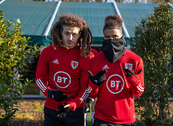CARDIFF, WALES - Monday, November 18, 2019: Wales' Ethan Ampadu (L) and Tyler Roberts during a training session at the Vale Resort ahead of the final UEFA Euro 2020 Qualifying Group E match against Hungary. (Pic by David Rawcliffe/Propaganda)