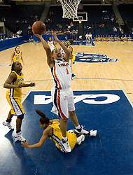 Virginia forward Lyndra Littles (1) shoots over UCSB guard/forward Whitney Warren (2).  The #4 seed/#24 ranked Virginia Cavaliers defeated the #13 seed Santa Barbara Gauchos 86-52 in the first round of the 2008 NCAA Division 1 Women's Basketball Championship at the Ted Constant Convocation Center in Norfolk, VA on March 23, 2008