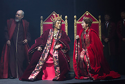© Licensed to London News Pictures. 21/05/2015. London, UK. Mikijiro Hira as Claudius/Ghost of Hamlet's Father and Ran Ohtori as Gertrude. The Ninagawa Company returns to the Barbican and perform Hamlet by Shakespeare under the direction of Yukio Ninagawa. With Tatsuya Fujiwara as Hamlet. Performances in Japanese with English surtitles from 21 to 24 May 2015. Photo credit : Bettina Strenske/LNP