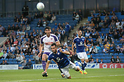 Chesterfield defender Sam Hird clears the ball during the Pre-Season Friendly match between Chesterfield and Rotherham United at the b2net stadium, Chesterfield, England on 25 July 2017. Photo by John Potts.
