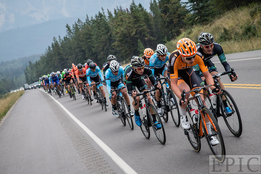 JASPER, ALBERTA, CAN - September 1: The peloton starts to chase hard during stage 1 of the Tour of Alberta on September 1, 2017 in Jasper, Canada. (Photo by Jonathan Devich)