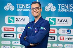Miha Mlakar during press conference of Slovenian Tennis Men Team before Davis Cup against Pakistan, on February 27, 2020 in Kristalna palaca, Ljubljana, Slovenia. Photo by Vid Ponikvar / Sportida