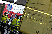 The Kings Cross subway station is closed and guarded by the police Friday July 8, 2005 in London, England because of the bombings that took place in London on Juli 7 2005
