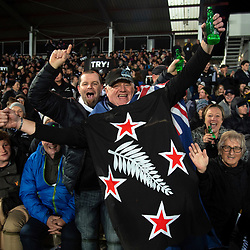 Fans celebrate during the Rugby Championship match between the New Zealand All Blacks and Argentina Pumas at Trafalgar Park in Nelson, New Zealand on Saturday, 8 September 2018. Photo: Dave Lintott / lintottphoto.co.nz