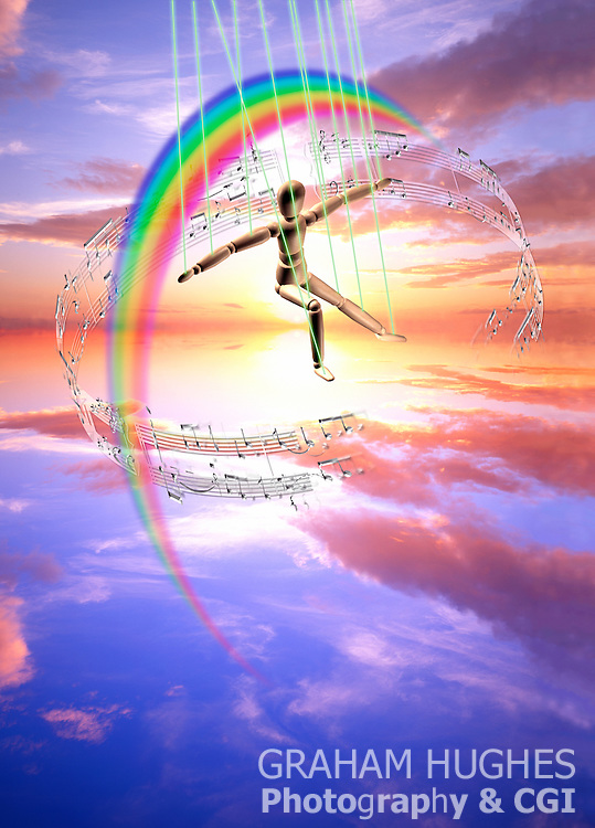 Wooden figure dancing inside musical notes and rainbow. Sound therapy concept