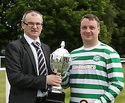 Fintry Shamrock captain Paul Chalmers receives the 2nd division championship trophy from League secretary Steve McSwiggan - Dundee Saturday Morning FA - Super Saturday at Dundee UNI<br /> <br />  - &copy; David Young - www.davidyoungphoto.co.uk - email: davidyoungphoto@gmail.com
