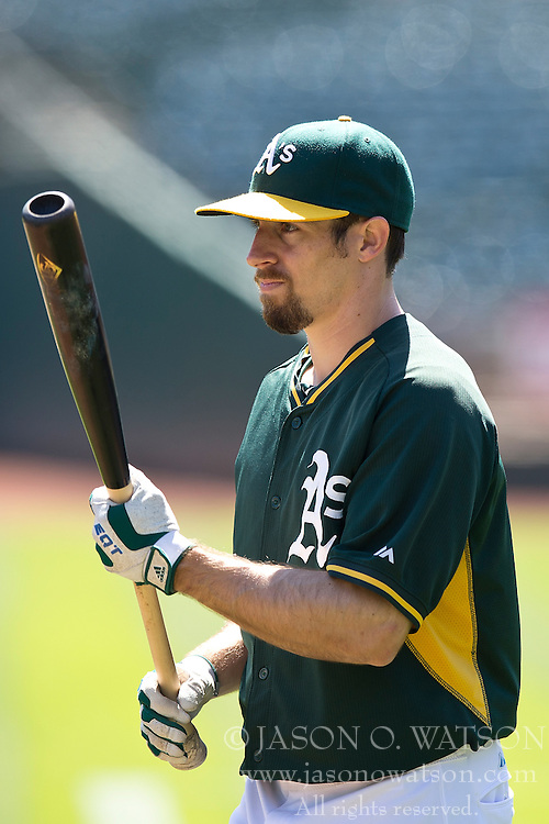 OAKLAND, CA - JUNE 21:  Billy Burns #1 of the Oakland Athletics holds a bat during batting practice before the game against the Los Angeles Angels of Anaheim at O.co Coliseum on June 21, 2015 in Oakland, California. The Oakland Athletics defeated the Los Angeles Angels of Anaheim 3-2. (Photo by Jason O. Watson/Getty Images) *** Local Caption *** Billy Burns