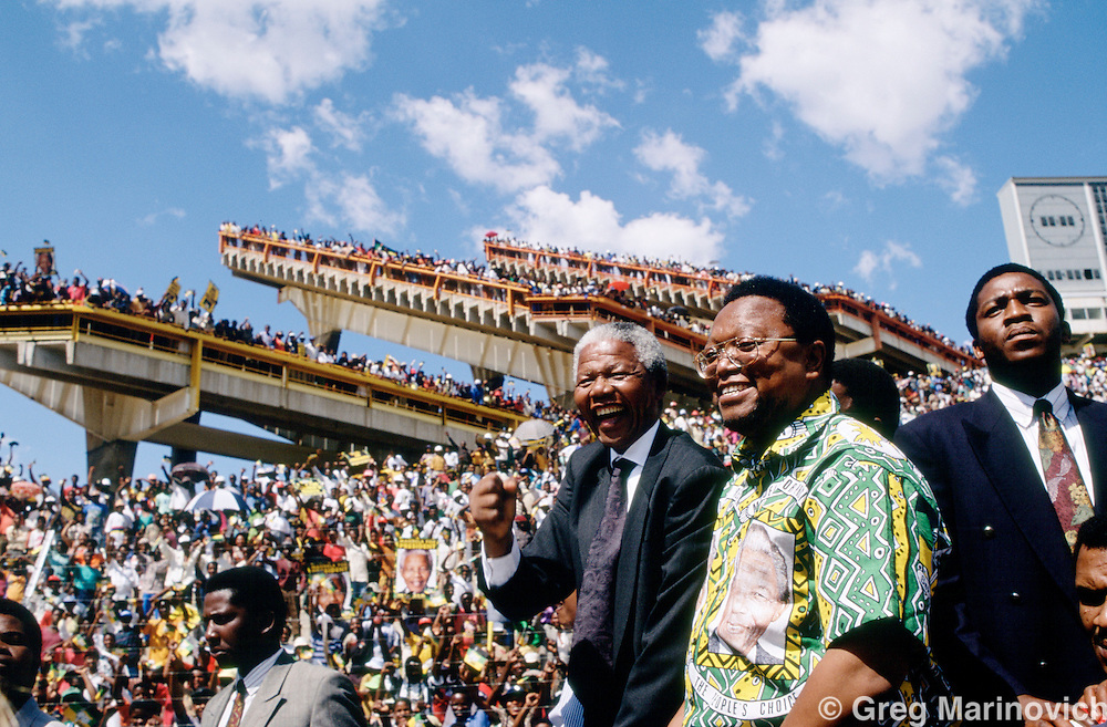 Bophuthatswana homeland, South Africa, 1994. Nelson Mandela is greeting jubilantly by supporters in 1994 during his electrion campaign that spanned the country and saw him win the first ever democratic non-racial elections in South Africa.