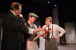 © Licensed to London News Pictures. 24/10/2014. London, England. L-R: Andy Williams, Paul Chequer, Robert Portal, Emily Raymond and Jonthan Broadment. Theatre Royal Plymouth presents Grand Guignol by Carl Grose at the Southwark Playhouse, London, from 23 October to 22 November 2014. Directed by Simon Stokes with Jonathan Broadbent, Matthew Pearson, Paul Chequer, Robert Portal, Emily Raymond and Andy Williams. Photo credit: Bettina Strenske/LNP