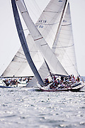 American Eagle and Nefertiti sailing in the Nantucket 12 Metre Class Regatta, day two.