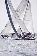 American Eagle and Nefertiti sailing in the Nantucket 12 Metre Class Regatta, day two.