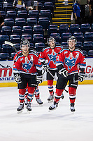 KELOWNA, CANADA - AUGUST 30: Dalton Yorke #5, Tyson Baillie #24, Jesse Lees #2, Carter Rigby #11 and Lucas Johansen #7 of the Kelowna Rockets celebrate a goal against the Kamloops Blazers on August 30, 2014 during pre-season at Prospera Place in Kelowna, British Columbia, Canada.   (Photo by Marissa Baecker/Shoot the Breeze)  *** Local Caption *** Dalton Yorke; Tyson Baillie; Jesse Lees; Carter Rigby; Lucas Johansen;
