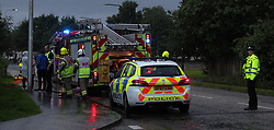 Lightning strike in Prestonpans 10 August 2019; Emergency services attend a Prestonspans house that was struck by lightning during a storm.<br /> <br /> (c) Chris McCluskie | Edinburgh Elite media