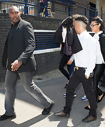 © Licensed to London News Pictures. 18/06/2014. Chelmsford , UK.  N-Dubz  pop group member Dino Costas Contostavlos aka 'Dappy' (right) , with his minder outside Chelmsford Magistrates Court in Essex, at lunch, where he is accused of attacking a man in the early hours of 27 February and is due to stand trial. Photo credit Simon Ford/LNP
