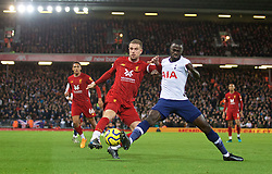 LIVERPOOL, ENGLAND - Sunday, October 27, 2019: Liverpool's captain Jordan Henderson (L) and Tottenham Hotspur's Davinson Sanchez during the FA Premier League match between Liverpool FC and Tottenham Hotspur FC at Anfield. (Pic by David Rawcliffe/Propaganda)