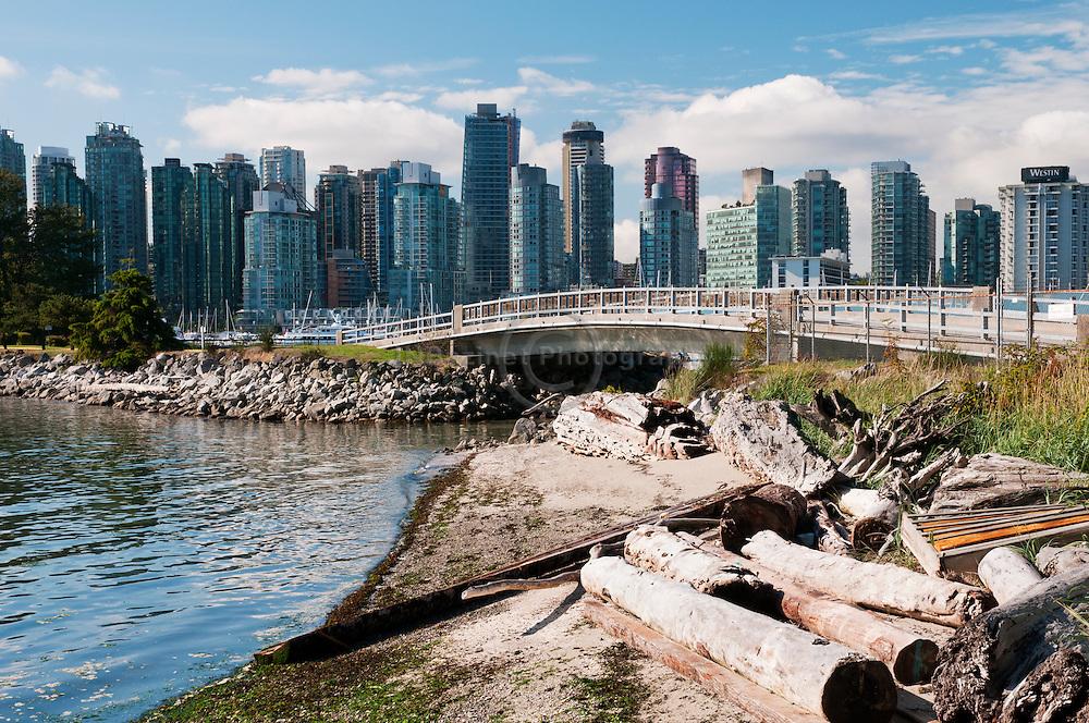 Driftwood and debris lines the shoreline of the bridge leading to Deadman Island.