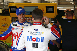 November 3, 2018 - Ft. Worth, Texas, United States of America - Joey Logano (22) and Kevin Harvick (4) hang out in the garage during practice for the AAA Texas 500 at Texas Motor Speedway in Ft. Worth, Texas. (Credit Image: © Justin R. Noe Asp Inc/ASP via ZUMA Wire)