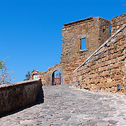 Stone walkway and walls of Civita di Bagnoregio, Italy<br />