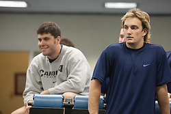 27 November 2007: North Carolina Tar Heels men's lacrosse Chris Cortina (L) and Gavin Petracca (R) during a weight lifting session in Chapel Hill, NC.