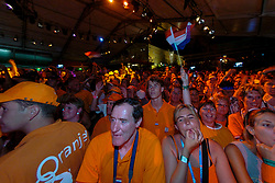 Dutch Orange support during honoring of the gold and silver medal in the Holland Heineken House for Anky van Grunsven and Theo Bos on August 25, 2004 in Olympic Stadion Spyridon Louis, Athens.