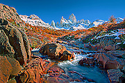 Stream valley below Mt Fitzroy in Patagonia